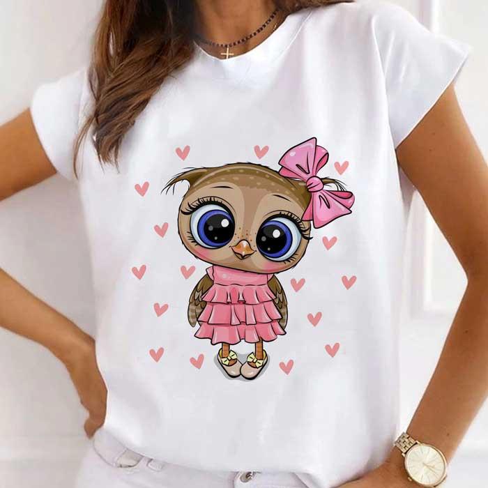 Tricou Dama Alb Cute Owl [0]