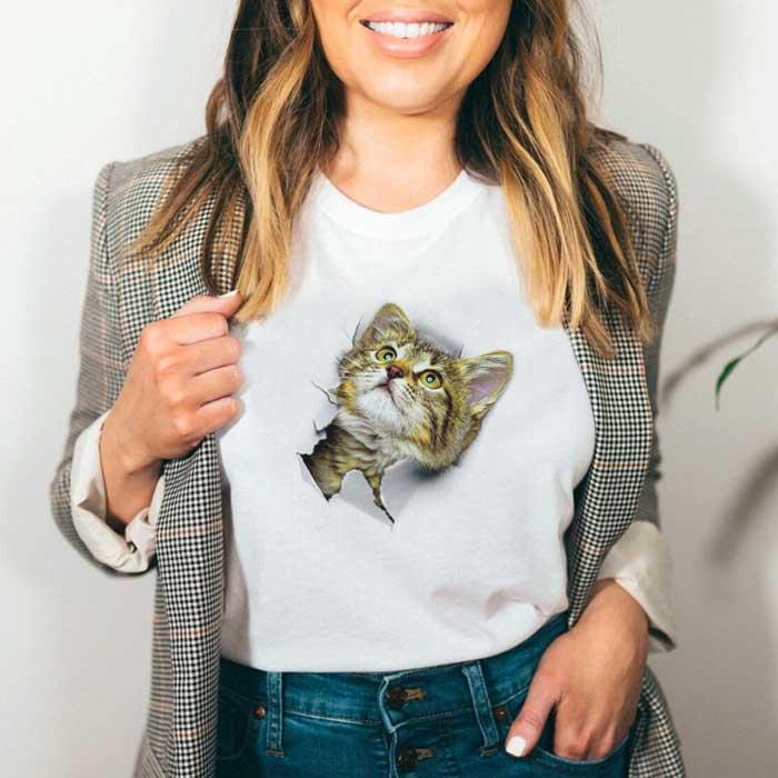 Tricou Dama Alb Cute Cat 2 [0]