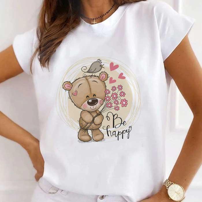 Tricou Dama Alb Happy Bear [0]