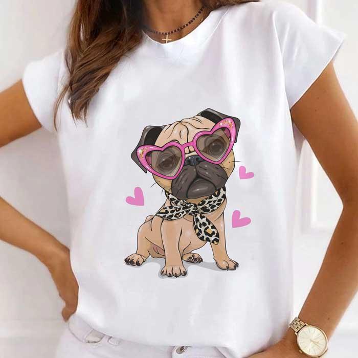 Tricou Dama Alb Fancy Pug [0]