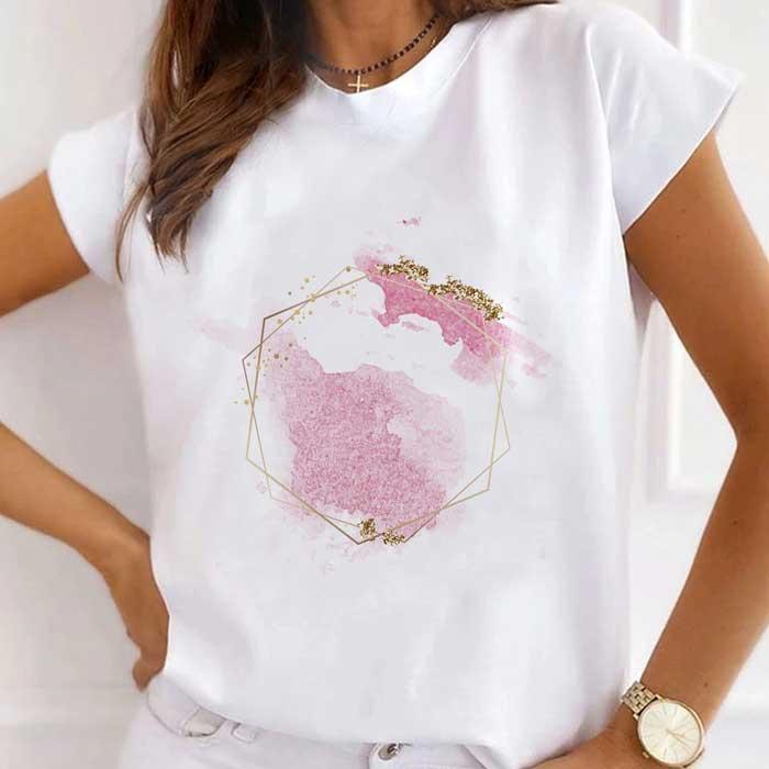 Tricou Dama Alb Pink Glitter [0]