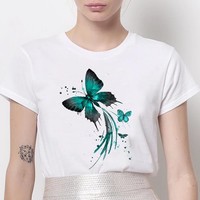 Tricou Dama Alb Emerald Butterflies [0]
