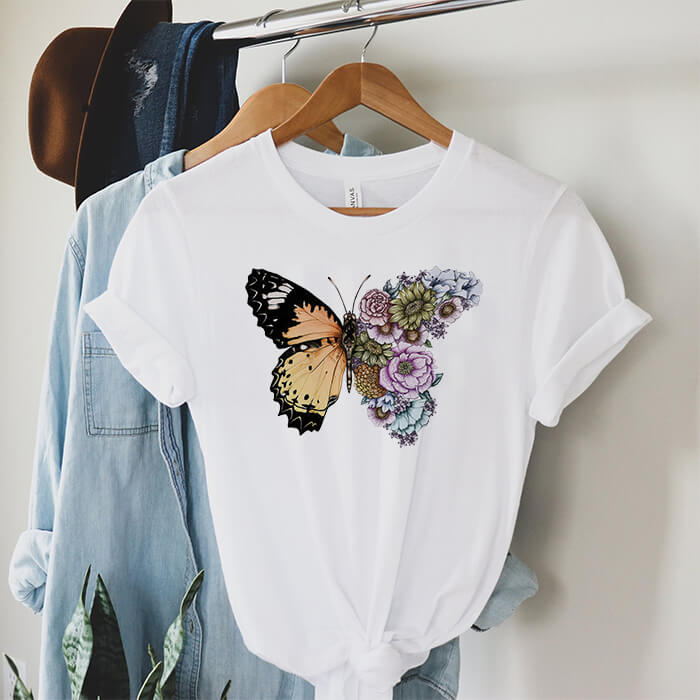 Tricou Dama Alb Butterfly In Bloom [0]