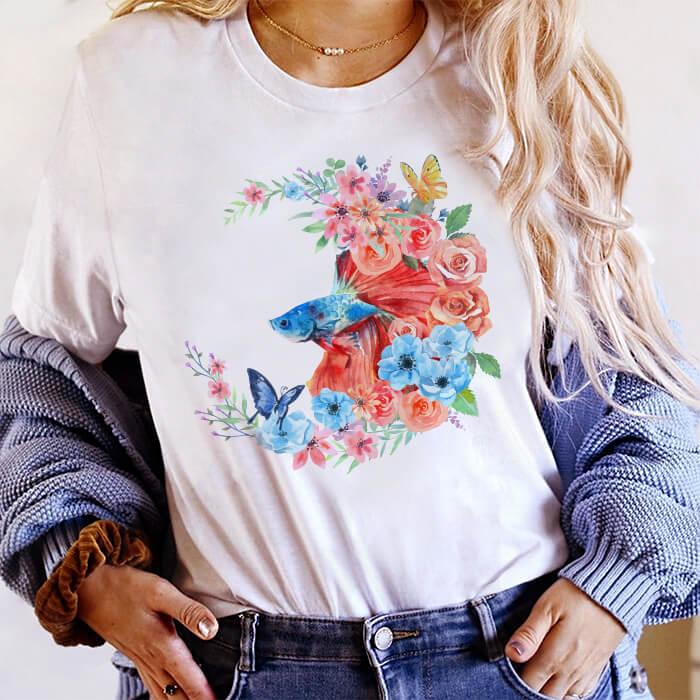 Tricou Dama Alb Fish Flowers [0]