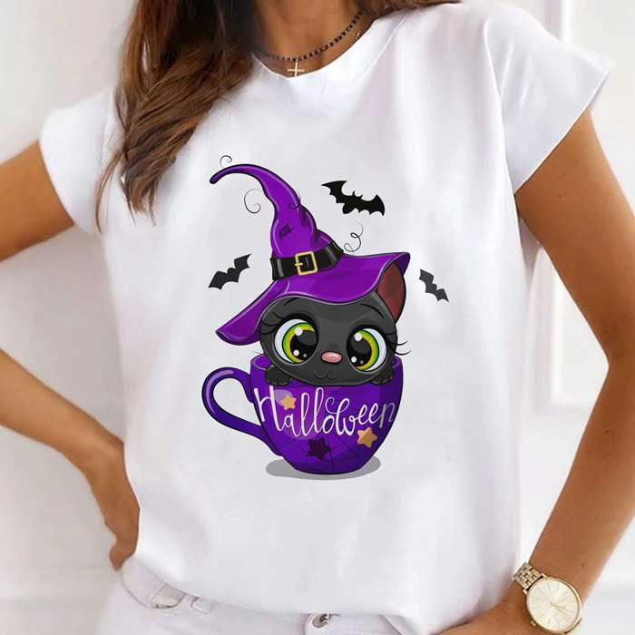 Tricou Dama Alb Halloween Cat [0]