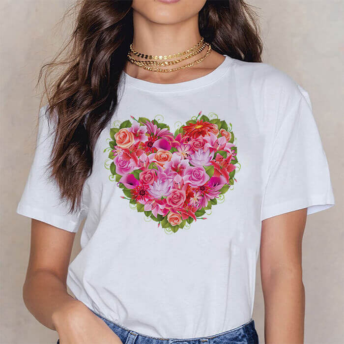 Tricou Dama Alb Red And Pink Flowers Heart [0]