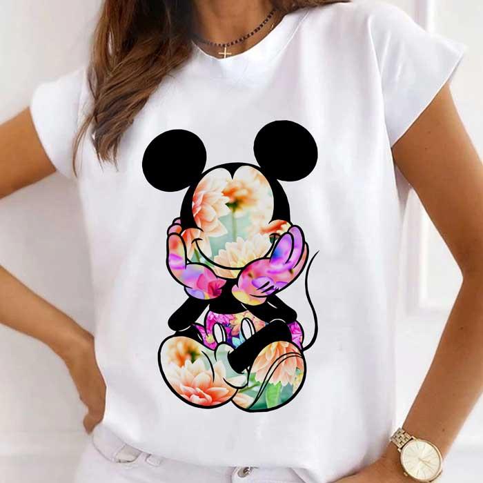 Tricou Dama Alb Floral Mickey [0]
