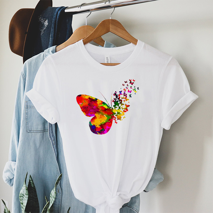 Tricou Dama Alb Abstract Butterfly [0]