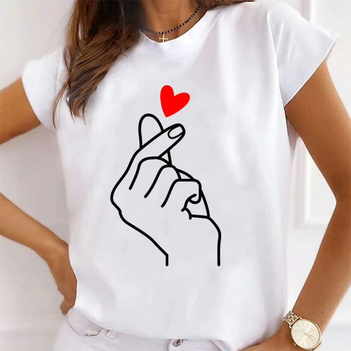 Tricou Dama Alb Finger Snap Heart [0]