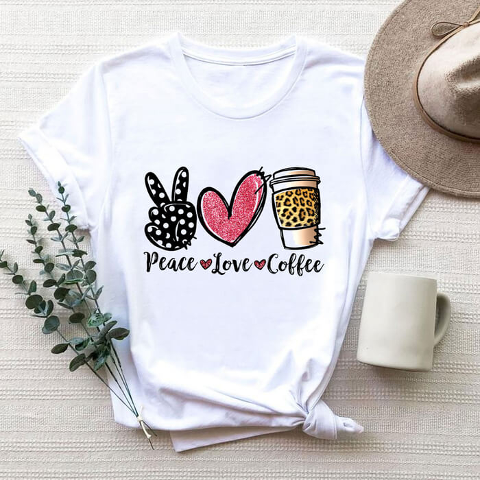 Tricou Dama Alb Peace Love Coffee [0]
