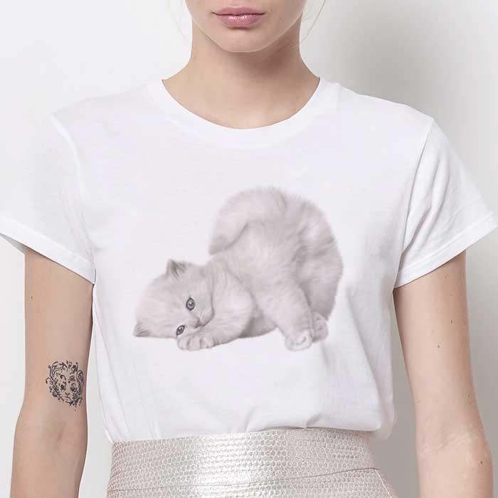 Tricou Dama Alb Lazy Cat [0]