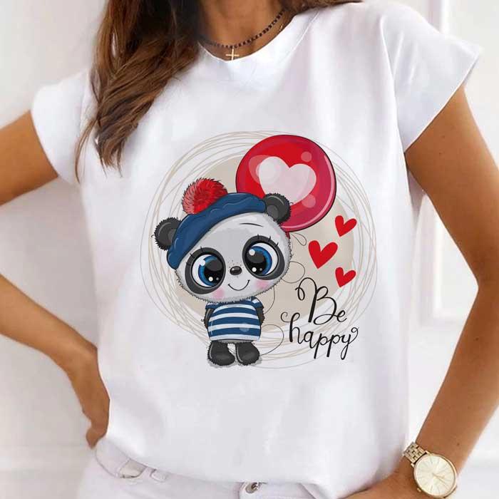 Tricou Dama Alb Happy Panda [0]