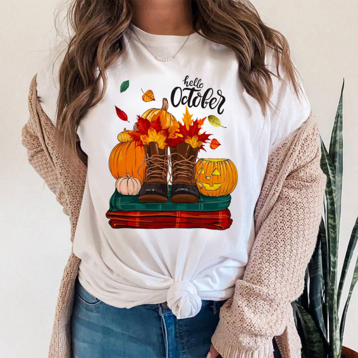 Tricou Dama Alb Hello October [0]