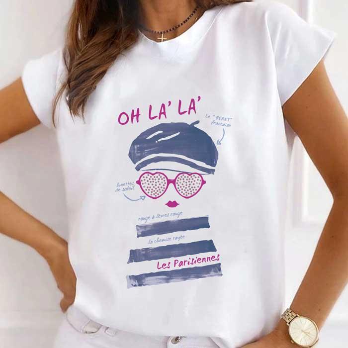 Tricou Dama Alb Les Parisiennes [0]
