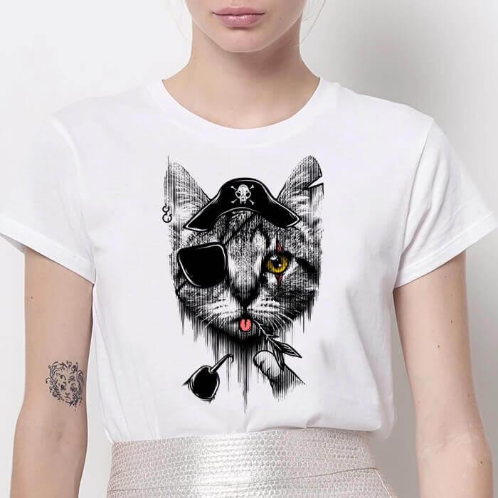 Tricou Dama Alb Pirate Cat [0]