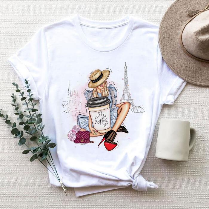 Tricou Dama Alb It's Always Coffee Time [0]