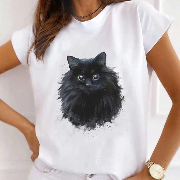 Tricou Dama Alb Black Cat [0]