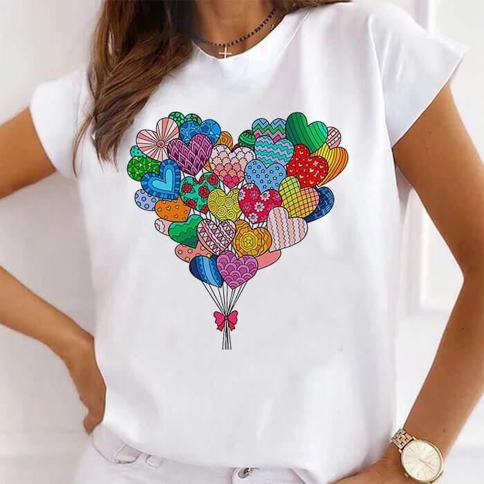 Tricou Dama Alb Love Balloons [0]