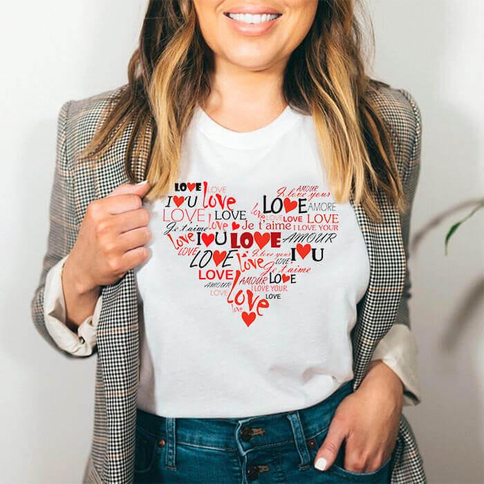 Tricou Dama Alb Love Heart [0]