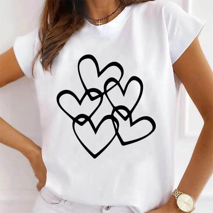 Tricou Dama Alb Multiple Hearts [0]