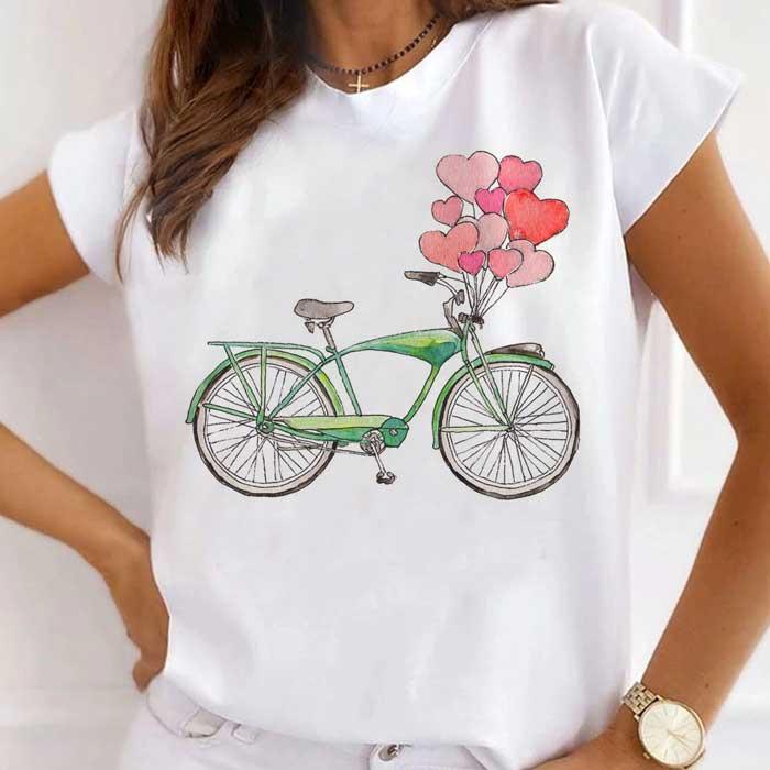 Tricou Dama Alb Bike Hearts [0]