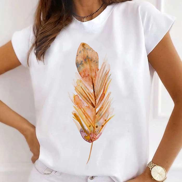 Tricou Dama Alb Watercolor Feather [0]