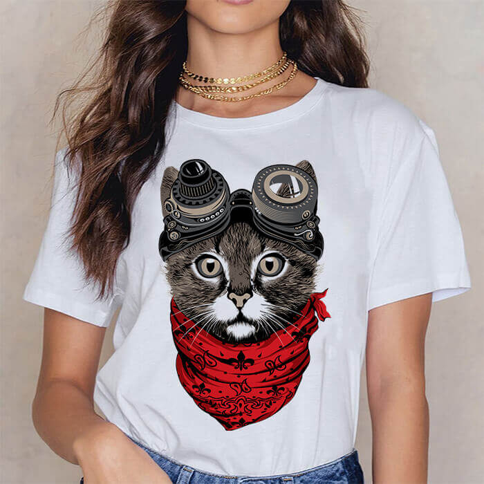 Tricou Dama Alb Steampunk Cat [0]