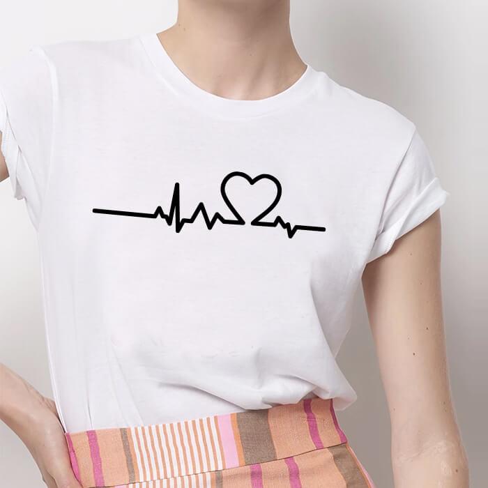Tricou Dama Alb Heartbeat [0]