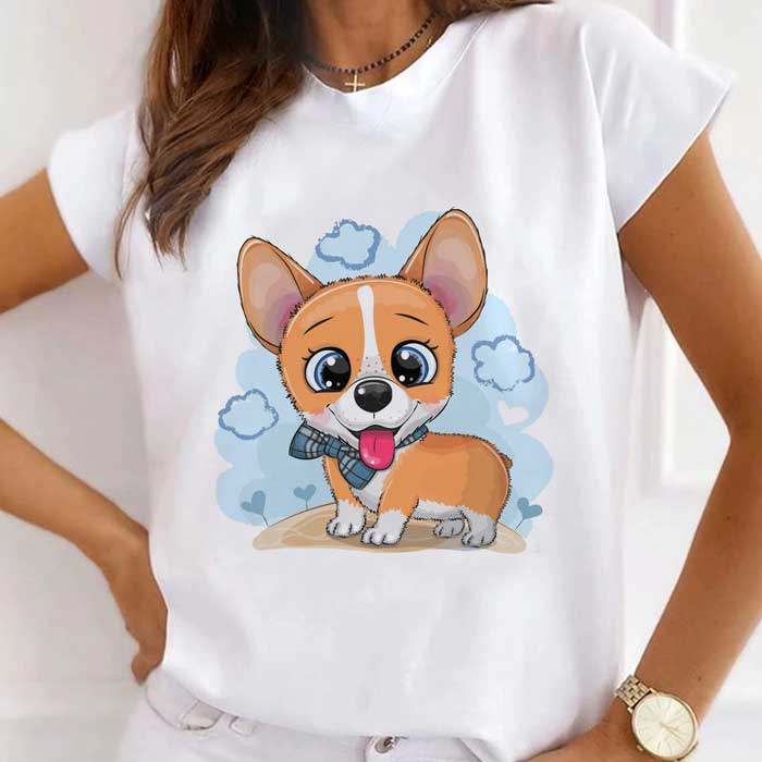 Tricou Dama Alb Sky Blue Puppy [0]