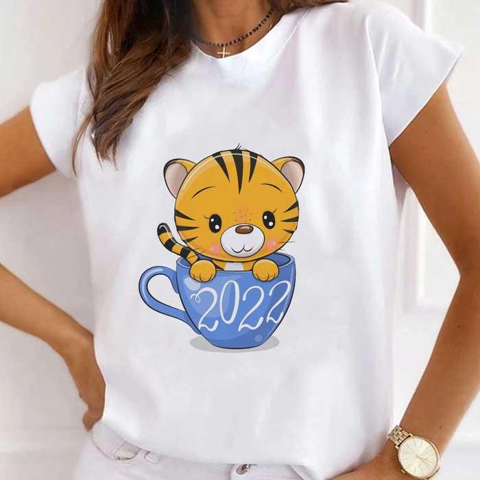 Tricou Dama Alb Tiger In A Cup 2022 [0]
