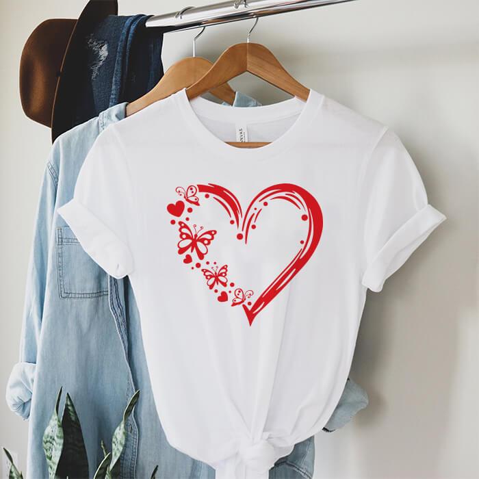 Tricou Dama Alb Butterfly Heart [0]
