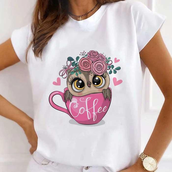 Tricou Dama Alb Pink Coffee Owl [0]