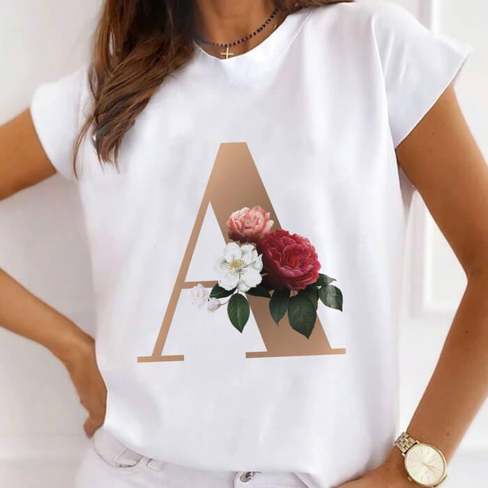 """Tricou Dama Alb Alfabet Litera """"A"""" [0]"""