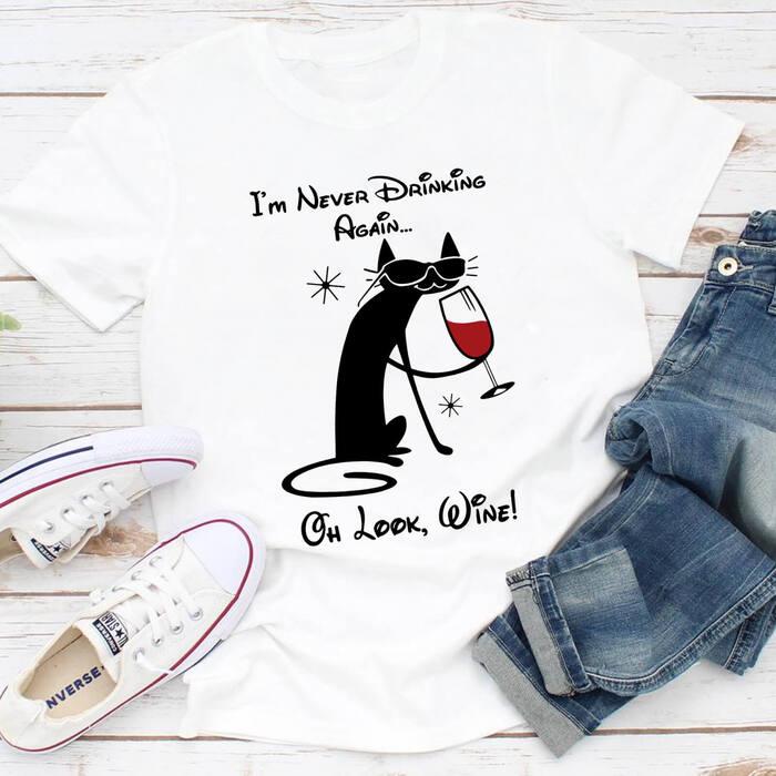 Tricou Dama Alb Wine Drinking Cat [0]
