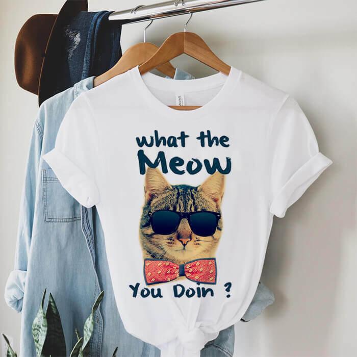 Tricou Dama Alb What The Meow You Doin [0]