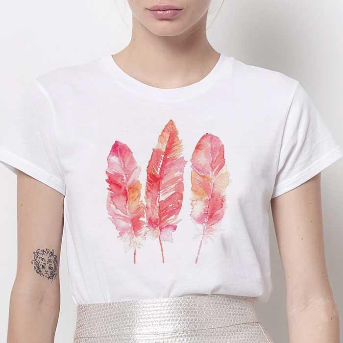 Tricou Dama Alb Pink Feathers [0]