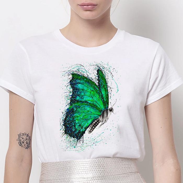 Tricou Dama Alb Green Butterfly [0]