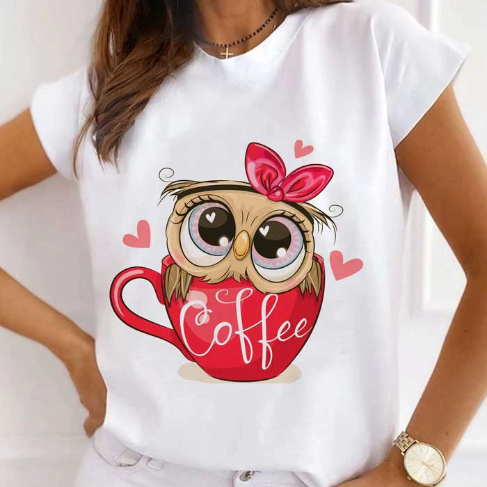Tricou Dama Alb Red Coffee Owl [0]