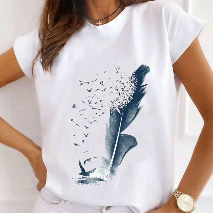 Tricou Dama Alb Dream Feather [0]