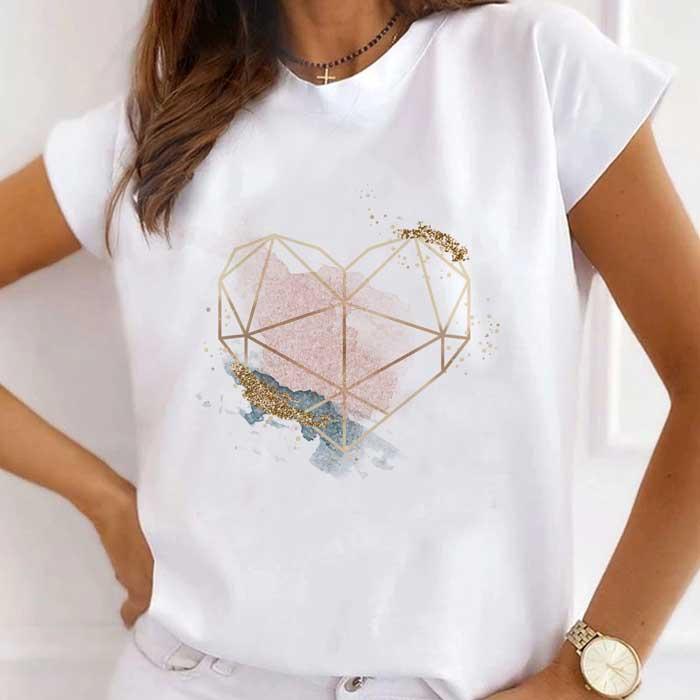 Tricou Dama Alb Glitter Heart [0]