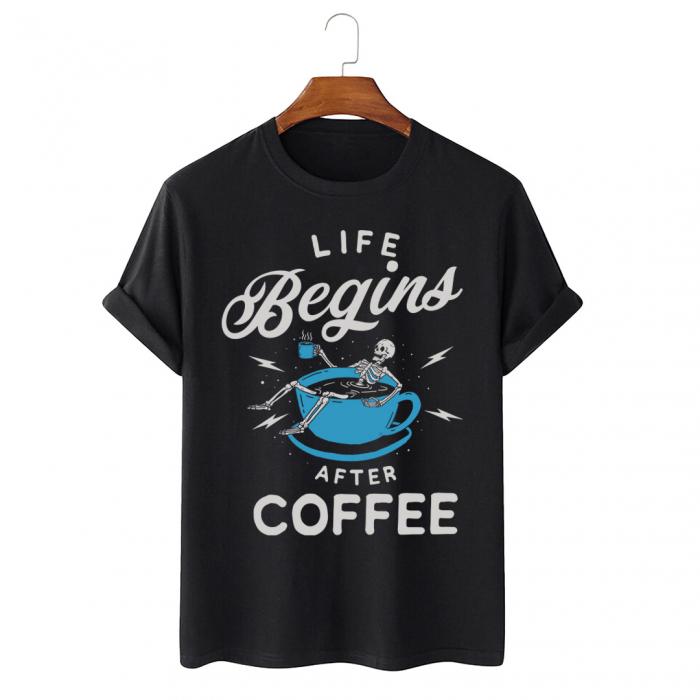 Tricou Negru Life Begins After Coffee [0]