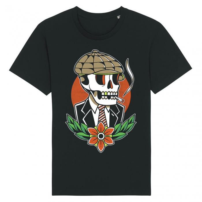 Tricou Negru Smoking Skull [0]