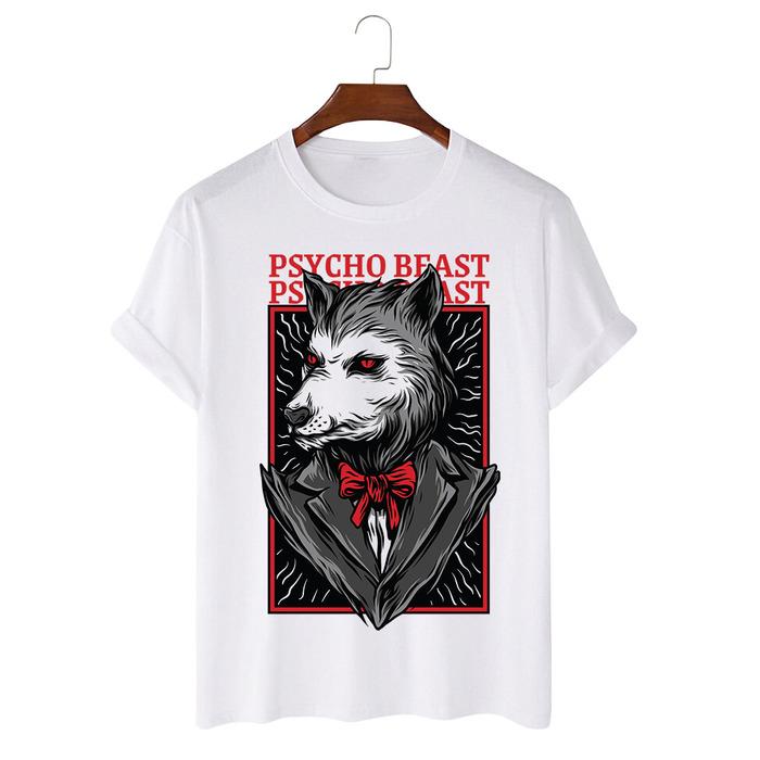 Tricou Alb Psycho Beast [0]