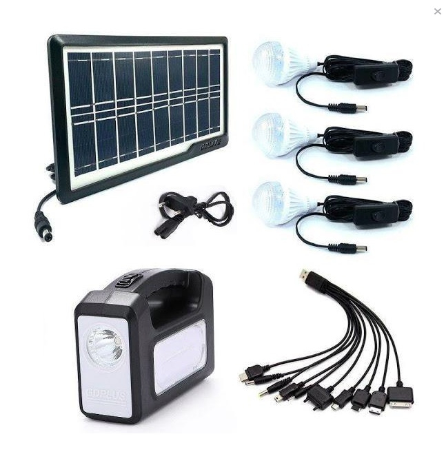 Kit panou solar GDPLUS-GD7 cu 3 becuri si lanterna inclusa [1]
