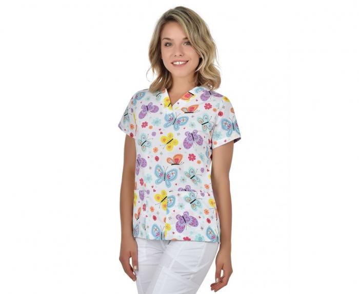 Bluza medicala alba cu fluturi si floricele [0]