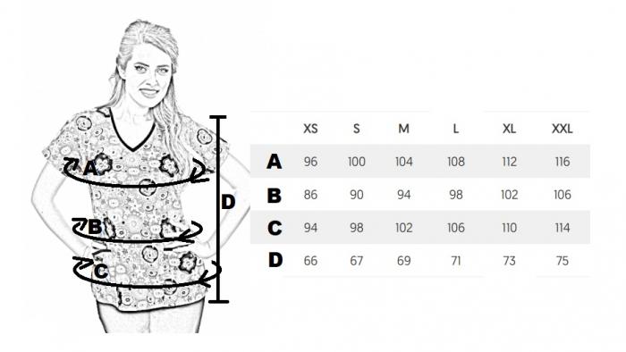 Bluza medicala aqua cu floricele [1]