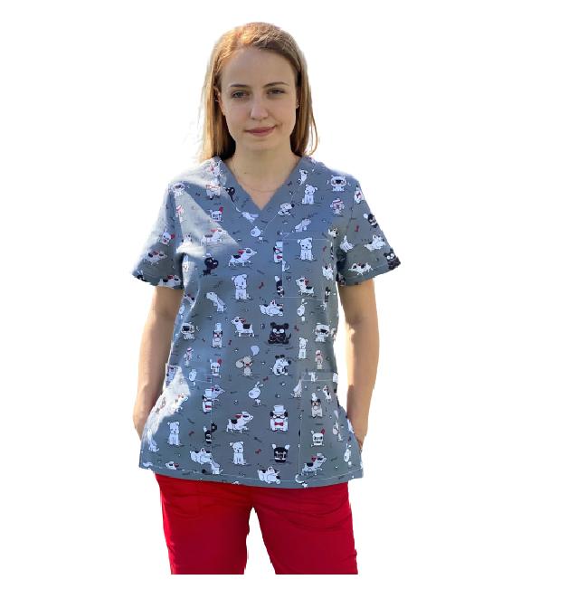 Bluza medicala gri cu catelusi 2 [0]