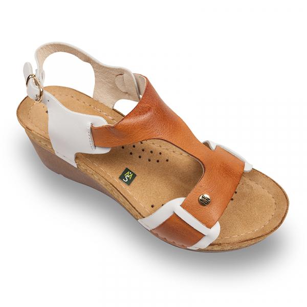 Sandale Leon 1010 alb cu maro - dama [0]