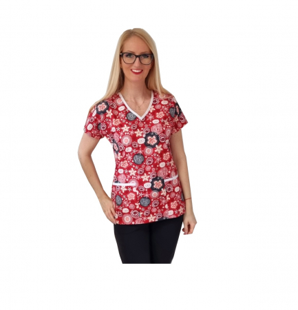 Bluza medicala rosie cu flori [0]