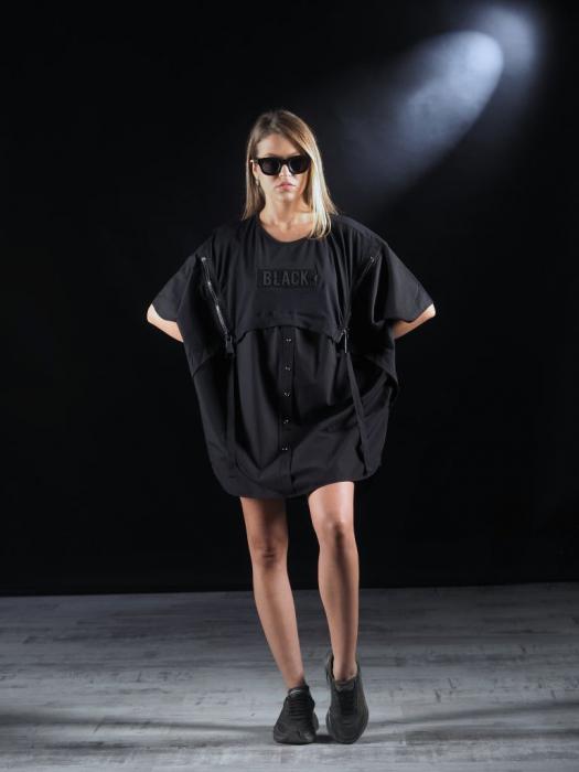 Bluza Neagra Super Dimensionata Accesorizata Cu Fermoare [7]